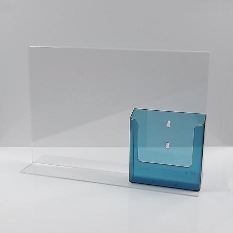 L-Standaard A3 met 1/3 A4 Folderhouder Transparant Blauw