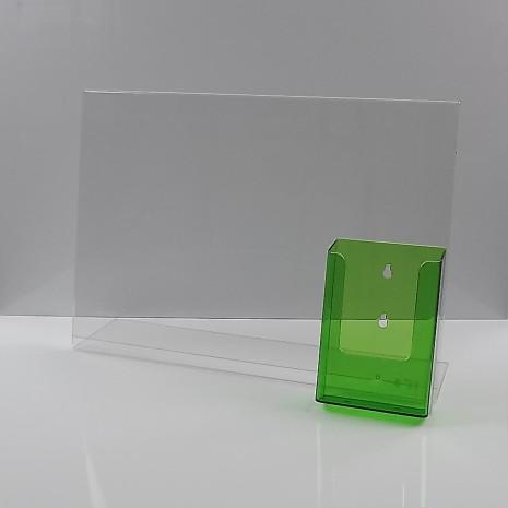 L-Standaard A3 met 1/3 A4 Folderhouder Transparant Groen