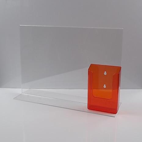T-Standaard A3 Liggend met 1/3 A4 Folderhouder Transparant Oranje