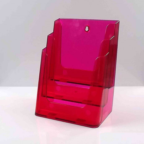 Folderhouder 3* A4 Transparant Rood