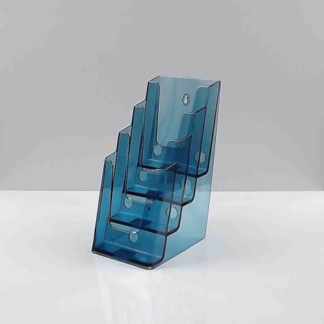 Folderhouder 4* 1/3 A4 Transparant Blauw