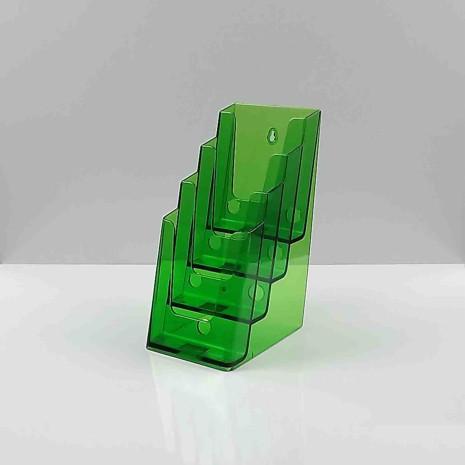 Folderhouder 4* 1/3 A4 Transparant Groen