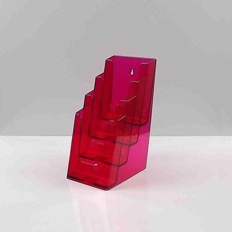 Folderhouder 4* 1/3 A4 Transparant Rood