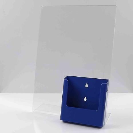 L-standaard A3 staand met folderhouder A5 blauw