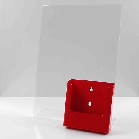 L standaard A3 staand met folderhouder A5 Rood