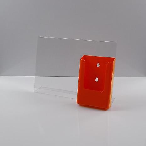 L-Standaard A4 Liggend met 1/3 A4 Folderhouder Oranje