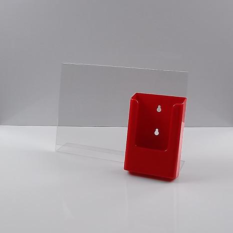 L-Standaard A4 Liggend met 1/3 A4 Folderhouder Rood