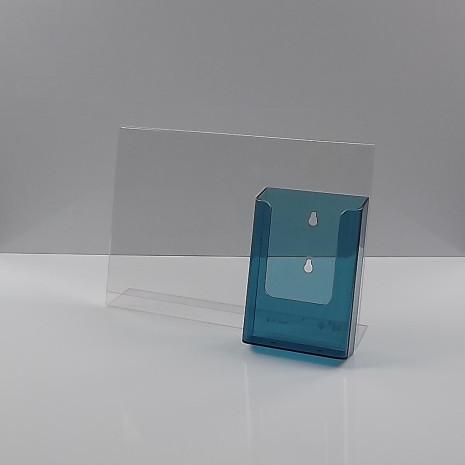 -Standaard A4 Liggend met 1/3 A4 Folderhouder Transparant Blauw