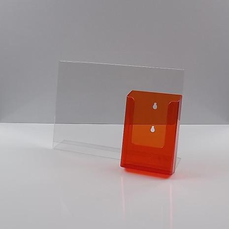 L-Standaard A4 Liggend met 1/3 A4 Folderhouder Transparant Oranje
