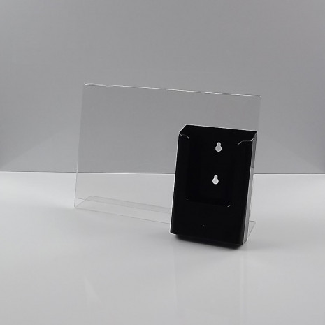 L-Standaard A4 Liggend met 1/3 A4 Folderhouder Zwart