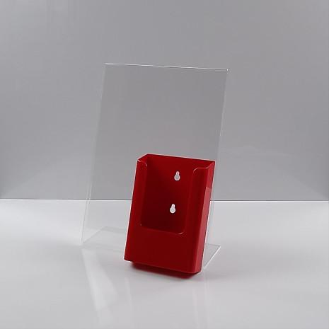 -Standaard A4 Staand met 1/3 A4 Folderhouder Rood