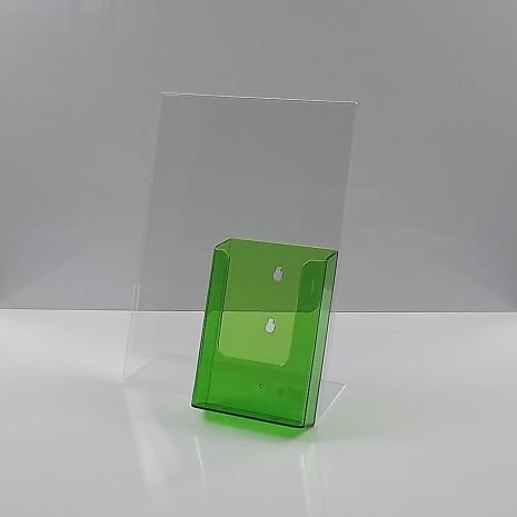 L-Standaard A4 Staand met 1/3 A4 Folderhouder Transparant PaarsL-Standaard A4 Staand met 1/3 A4 Folderhouder Transparant Groen