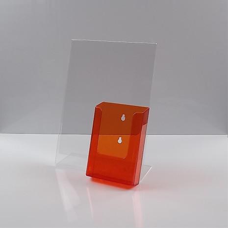L-Standaard A4 Staand met 1/3 A4 Folderhouder Transparant Oranje