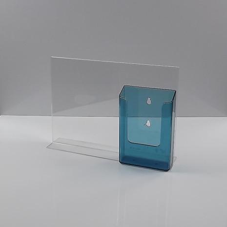 T-Standaard A4 liggend met 1/3 A4 folderhouder transprant blauw