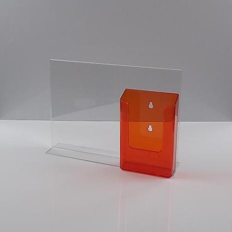 T-Standaard A4 liggend met 1/3 A4 folderhouder transparant oranje